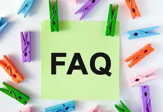 'Preguntas frecuentes' en verde publíquelo con clips de colores alrededor publíquelo