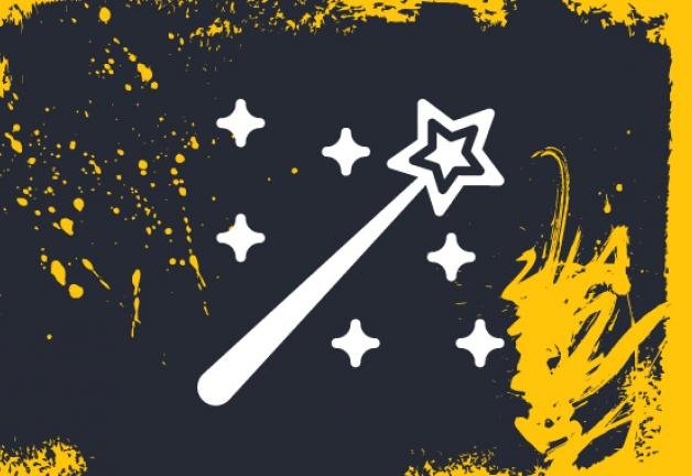 White wand on a dark grey background with yellow paint strokes