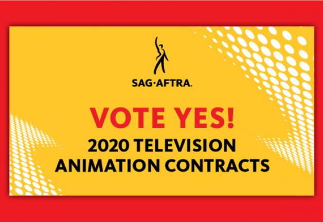 """""""Vote Yes!"""" in red with """"2020 TV Animation Contracts"""" below. All on a yellow background with a red boarder"""