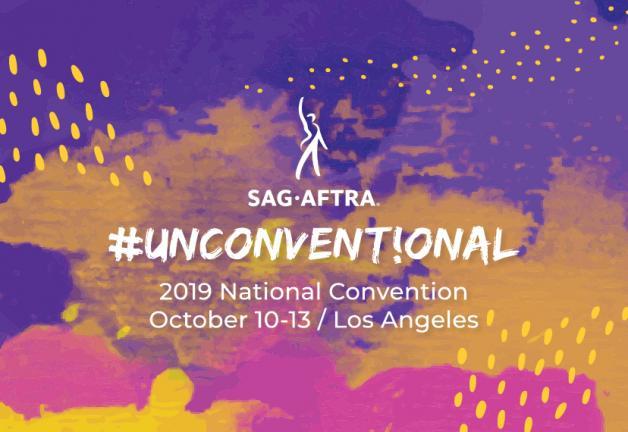 Logotipo SAG-AFTRA centrado. #UNCONVENT! ONAL 2019 Convención Nacional Octubre 10-13 / Los Angeles en blanco sobre un fondo de mosaico morado, rosa y dorado.