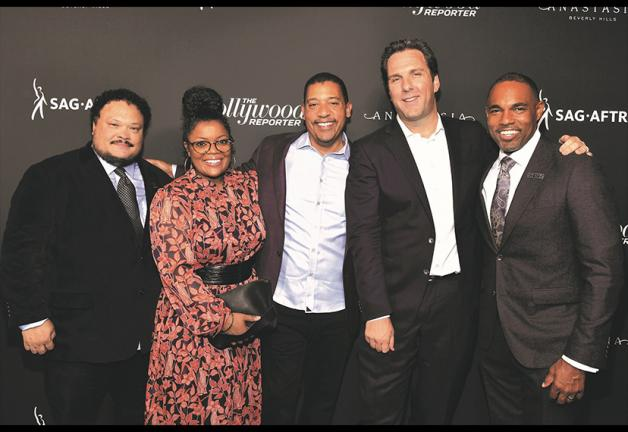 From left, SAG-AFTRA National Board members Adrian Martinez and Yvette Nicole Brown, SAG-AFTRA National Executive Director David White, The Hollywood Reporter Editorial Director Matthew Belloni and SAG-AFTRA National Board member Jason George commemorate