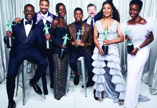 Chadwick Boseman, center, and the cast of Black Panther at the 2019 SAG Awards.