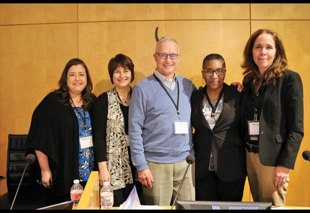 EVP and New York Local President Rebecca Damon; member Cheri Preston; National Board member and BSC Chair Joe Krebs; Vice President, Broadcasters Catherine Brown; and Chief Broadcast Officer Mary Cavallaro