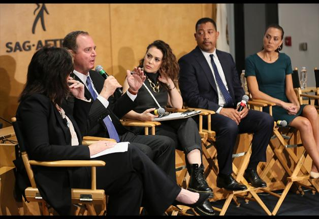 From left, NBC4 anchor Colleen Williams, panel moderator; Rep. Adam Schiff; SAG-AFTRA member Alyssa Milano; SAG-AFTRA National Executive Director David White; and SAG-AFTRA member Heidi Johanningmeier at the May 6 panel discussing the emerging threat of de