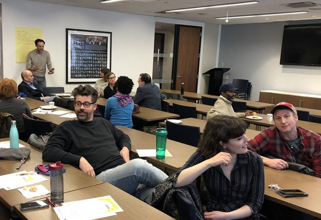 Members brainstorm at the Feb. 12 #AdsGoUnion meeting.