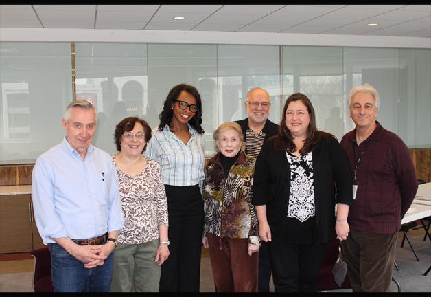 From left, New York BAC members Tim Miller, France Iann, Avis Boone, Joyce Korbin, Chair Gerald Kline, New York Local President Rebecca Damon and committee member Marc Baron.