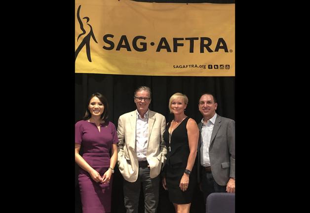 SAG-AFTRA member and ABC7 anchor Dion Lim with members Simon Vance and Ann Richardson and SAG-AFTRA National Director, Organizing, Steve Sidawi