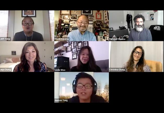 Panelists from the PTEOE Race & Storytelling: Asian American Voices. Top row, from left: They Call Us Bruce podcast co-host Jeff Yang; SAG-AFTRA National Vice President, Los Angeles, Clyde Kusatsu; and member Parvesh Cheena; second row, from left: broadca