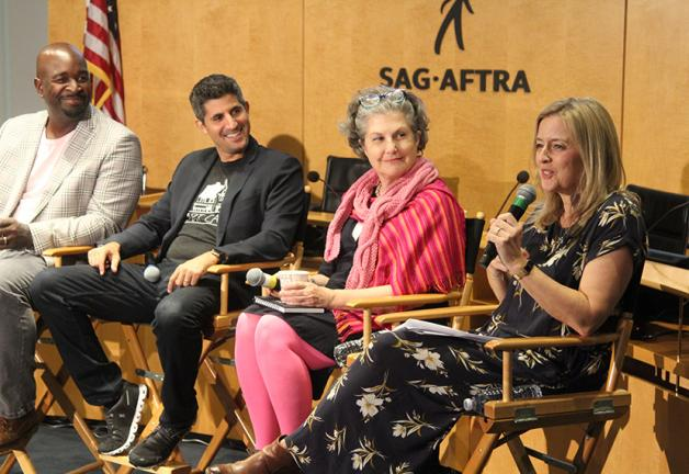 From left, panelists Alvin Chea, Assaf Cohen and MOVE L.A. Committee Chair Susie Duff listen as Harriet Fraser speaks at the SAG-AFTRA MOVE L.A. parenting panel at SAG-AFTRA Plaza on Oct. 24.