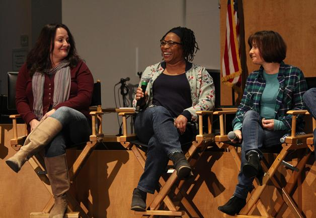 From left, Juliet Cesario, Yolanda Snowball and Terri Hadley share their best and worst moments standing in for some of Hollywood's favorite actors at the MOVE L.A. Standing Up for Stand-Ins panel at SAG-AFTRA Plaza on Nov. 21.