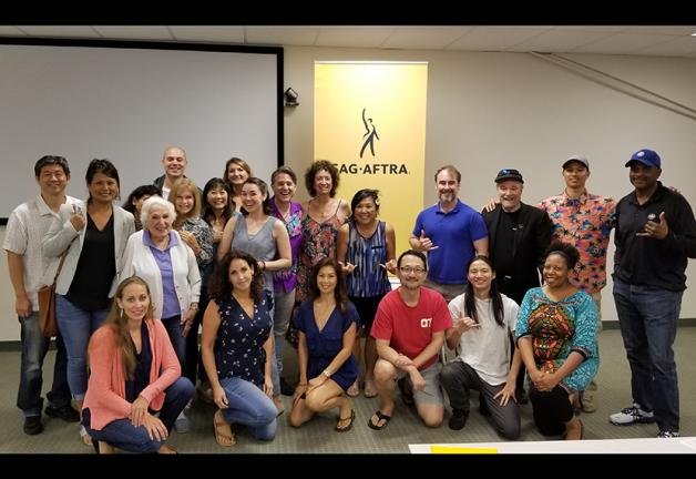 Members had great time at a July 26 voiceover workshop taught by Yuri Lowenthal and Tara Platt. Photo by Leanne Teves.