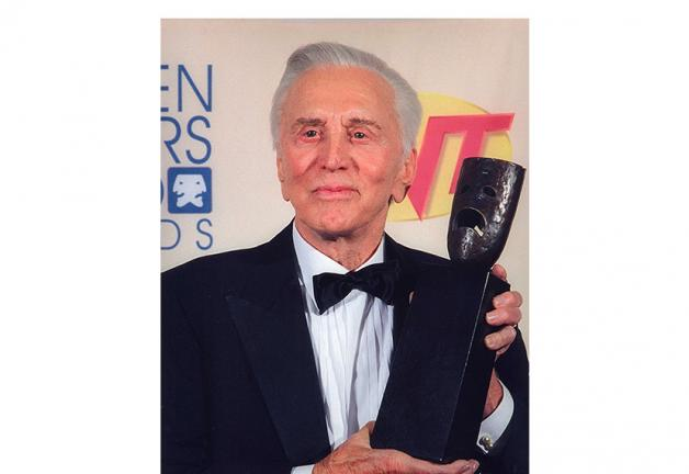 Kirk Douglas at the 1998 SAG Awards with his Life Achievement Awards
