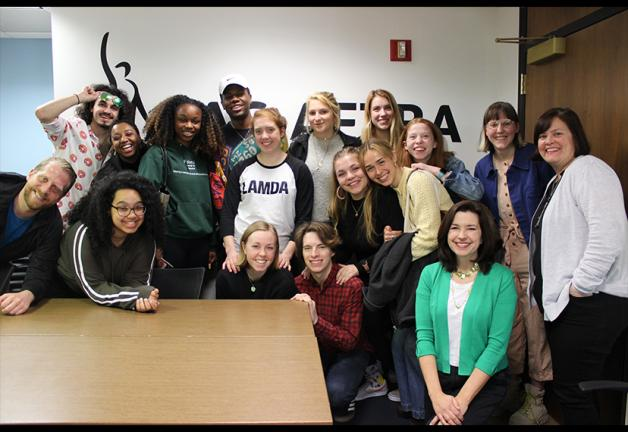 SAG-AFTRA Vice President, Mid-Sized Locals Michele Proude and New England Local Director of Contracts and Member Services Jessica Maher with Emerson College students.