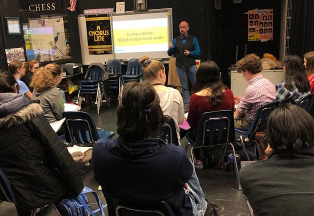 Washington-Mid Atlantic Local Senior Business Representative Jess W. Speaker III speaks at the Fairfax Academy for Communications and the Arts on Feb. 19.