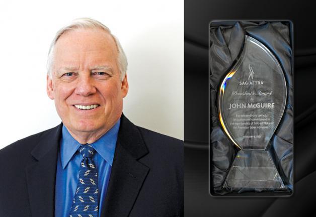 El veterano ejecutivo de SAG-AFTRA, John McGuire, recibe el Premio del Presidente el 6 de febrero de 2021. El galardón llega después de servir a los miembros del sindicato 52 años.