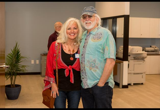 SAG-AFTRA members Benita Hill and Dennis Wilson stand in the lobby of the Nashville Local office.