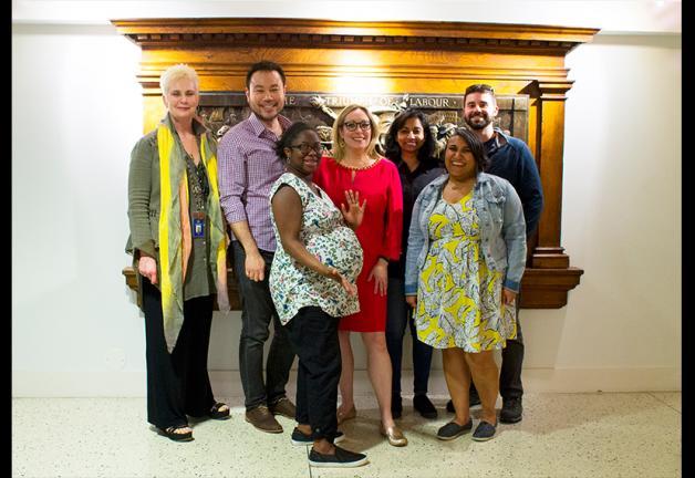 From left, Al Jazeera English employees Kira Rockell, Lister Lim, Ayana Brickhouse, Kimberly Halkett, Kavitha Chekuru, Anar Virji and Mike LaBella after a long night of negotiations.