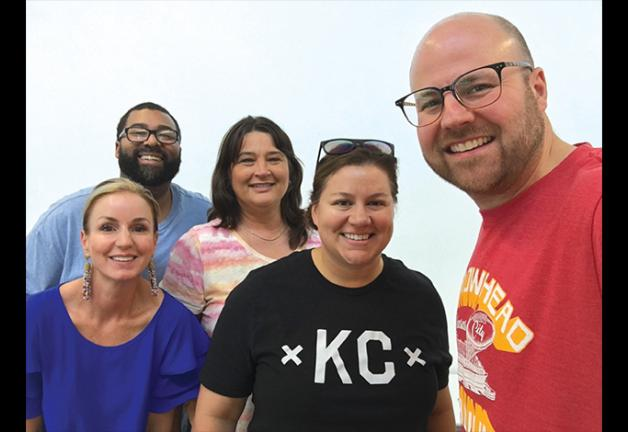 From left, SAG-AFTRA Senior Broadcast Manager Amy Rose, Chris Stimpson from Carter Broadcasting Group, Lori Butcher from KCTV, Rachel Coleman from WDAF and Missouri Valley Local President Andrew Zimmerman.