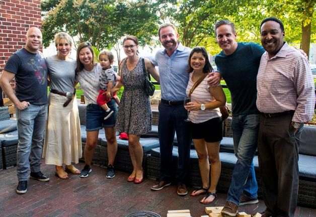 From left, Mark Roper, Denise Koch, Linh Bui, Ava Marie, Justin Schlegel, Kim Dacey, Christian Schaffer and Tim Williams