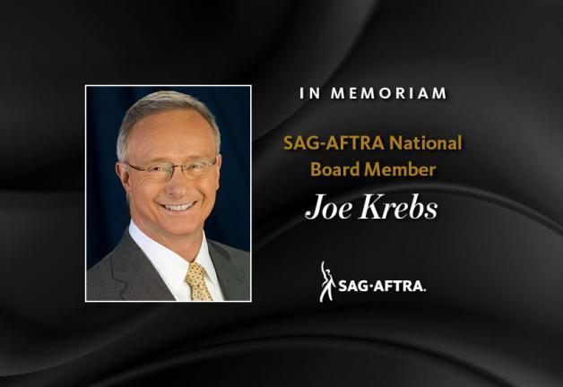 'In Memoriam, miembro de la Junta Nacional de SAG-AFTRA, Joe Krebs' con un disparo en la cabeza de Krebs a la izquierda