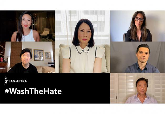 Stills from video, Jeannie Mai, Ken Jeong, Lucy Liu, Christina Chang, Vincent Rodriguez III, Tzi Ma with #WashTheHate