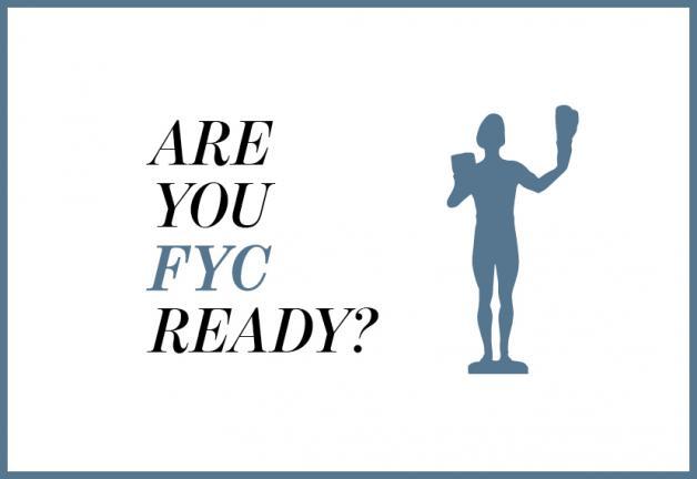 '¿Estás listo para FYC?' en negro con una silueta azul grisácea oscura del actor de los premios SAG sobre un fondo blanco con borde fino gris azulado