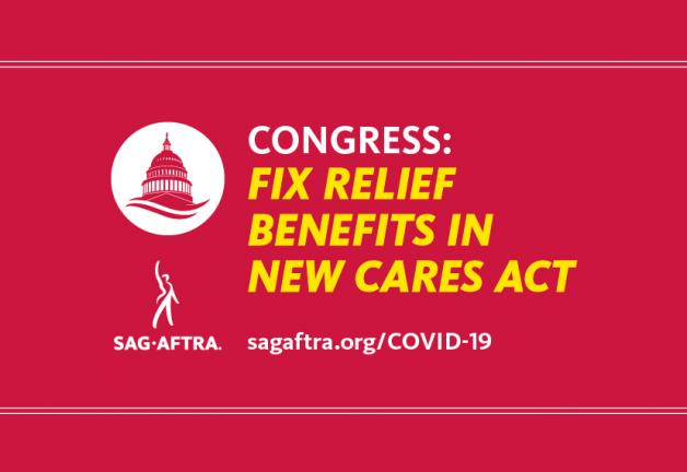 """Congress: Fix Relief Benefits in New Cares Act"" in yellow with a red background and a capitor silhouette in wihite to the right"