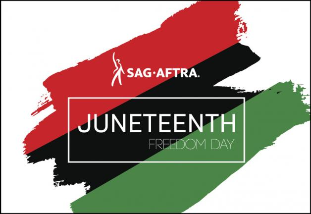 """Red, black and green diagonal brush stroke with a white filled background. """"JUNETEENTH FREEDOM DAY"""" in white with a thin white box around it."""