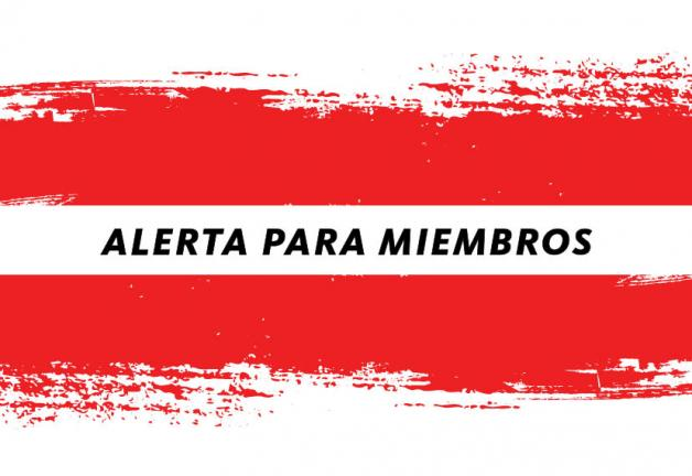 Alerta Para Miembros in black with Red paint brush background