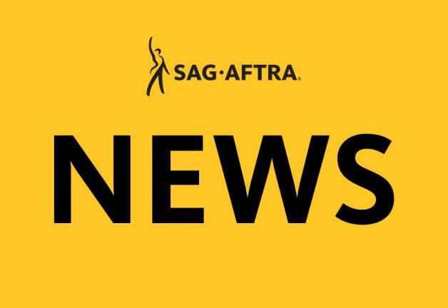 'NOTICIAS' en negro sobre un fondo amarillo centrado. Logotipo SAG-AFTRA en la parte superior
