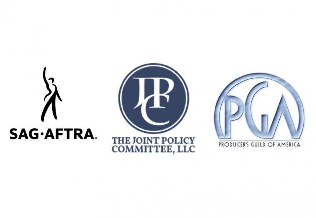 Logotipo de SAG-AFTRA a la izquierda, logotipo de The Joint Policy Committee, LLC en el centro y logotipo de Producers Guild of America a la derecha, todo sobre fondo blanco