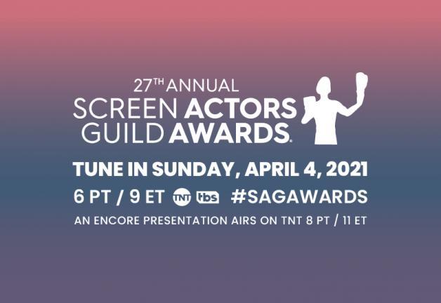'27th Annual Screen Actors Guild Awards' en blanco con un fondo degradado de rosa a morado
