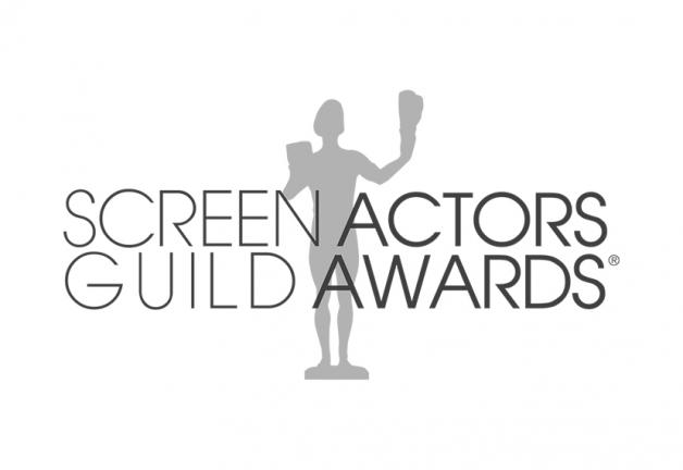 Screen Actors Guild Awards con silueta de actor gris detrás del texto sobre un fondo blanco