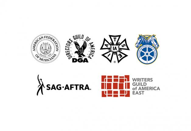 AFM Logo, DGA Logo, IATSE Logo and Teamsters logo on the first row and SAG-AFTRA Logo and WGA, East Logo on the second row, centered on a white background.