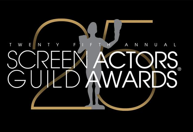"""Twenty Fifth Annual Screen Actors Guild Awards"" text overlaying a gray Actor silhouette, overlaying a gold 25 with a black background"