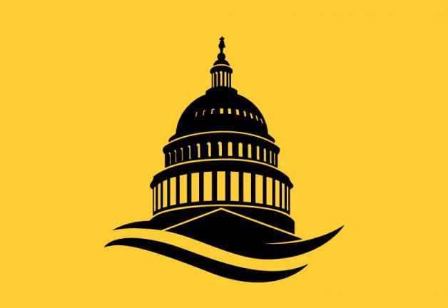Silueta del Capitolio de Estados Unidos en negro con fondo amarillo.