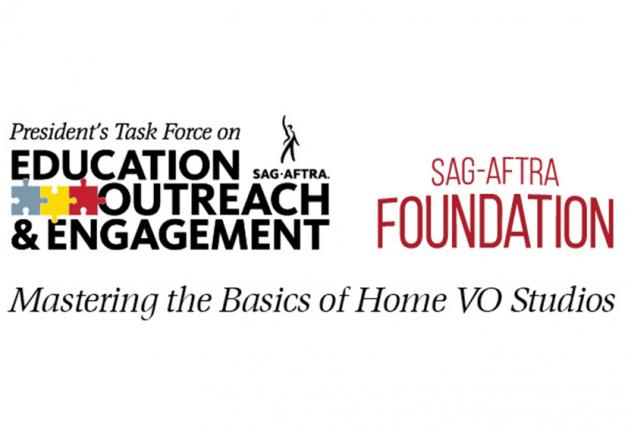 """PTEOE Logo on the left and SAG-AFTRA Foundation logo to the right with """"Mastering the Basics of the Home VO Studio"""" in black across the bottom of both logos on a white background"""