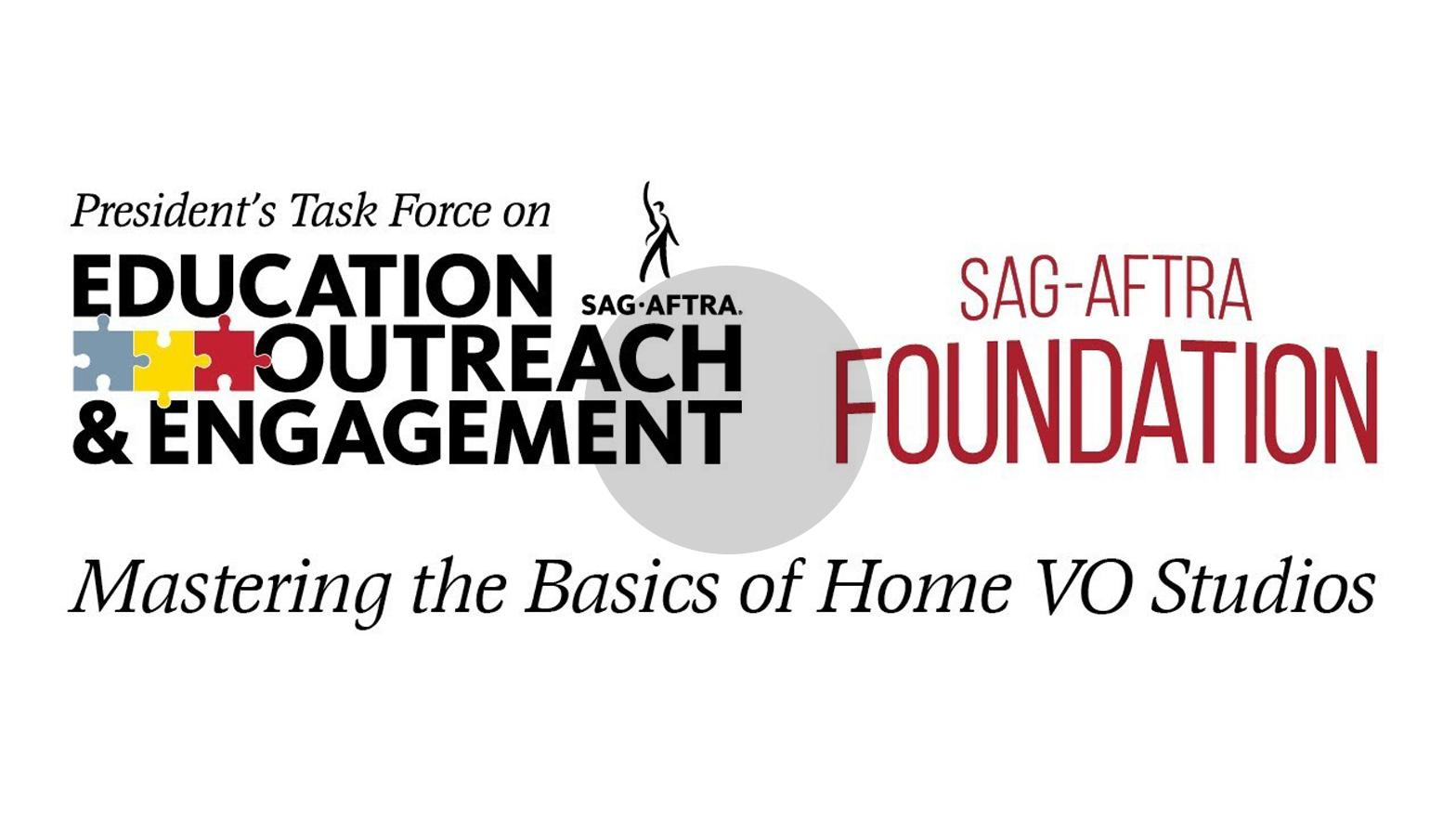 "PTEOE Logo on the left and SAG-AFTRA Foundation logo to the right with ""Mastering the Basics of the Home VO Studio"" in black across the bottom of both logos on a white background"