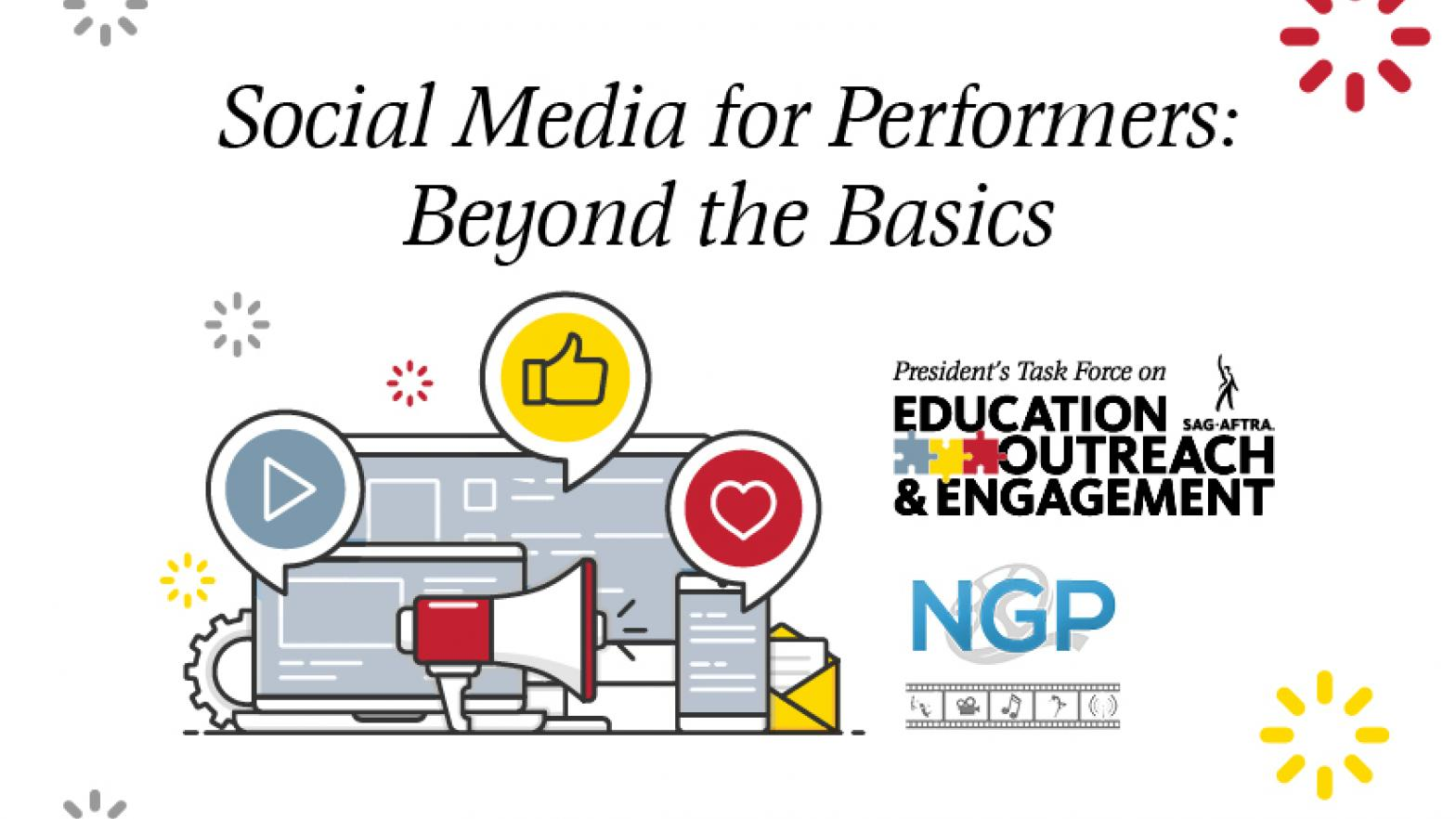 """Social Media for Performers: Beyond the Basics"" italicized top centered. PTEOE logo and NGP logo stacked on top of each other on right."