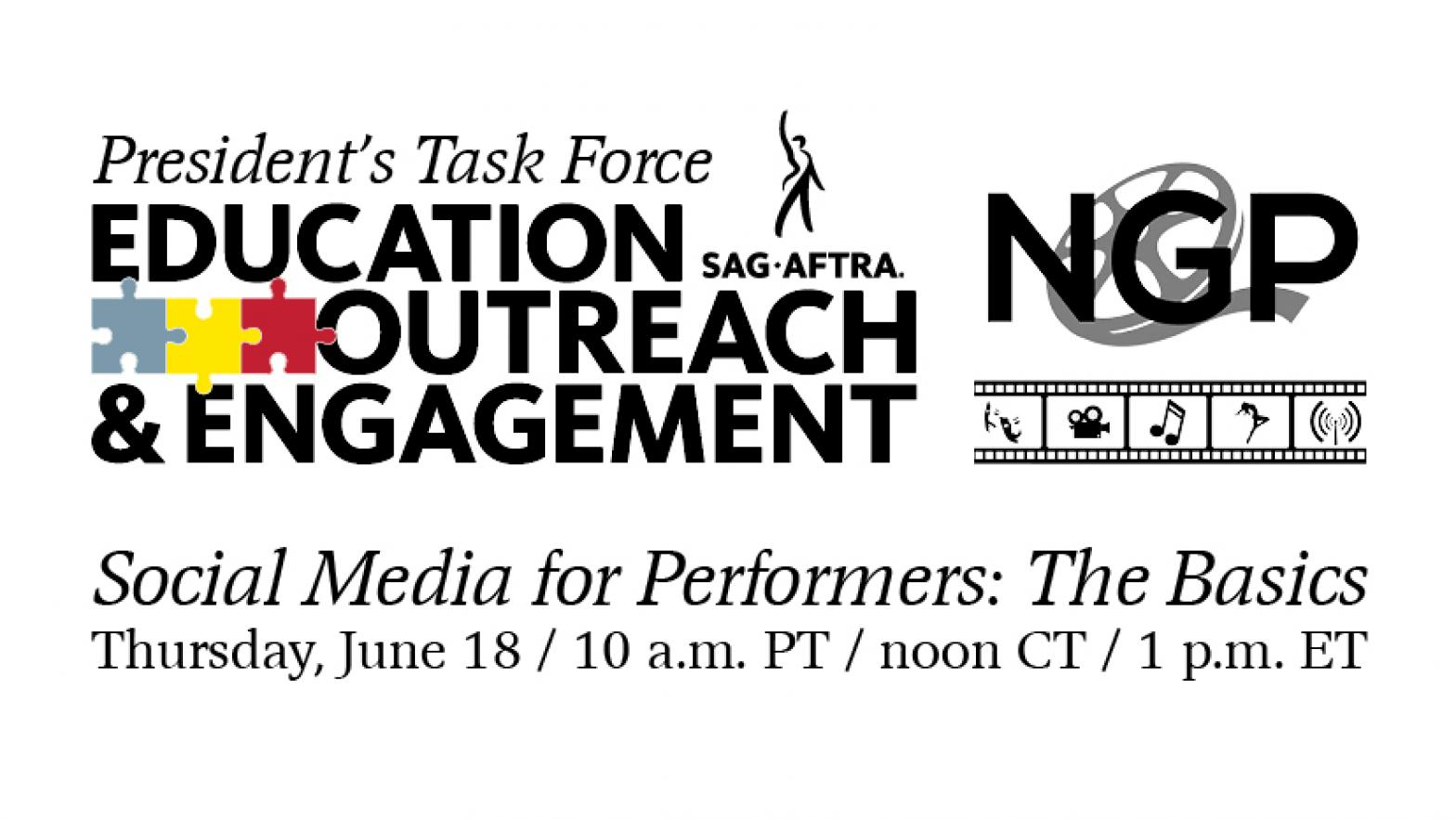 "PTEOE Logo on left with SAG-AFTRA NGP logo on the right with ""Social Media for Performers: The Basics"" in black italics across the bottom all on a white background."
