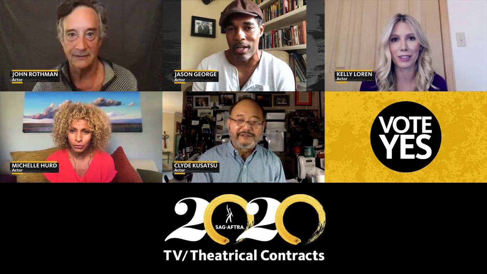 Two rows of thumbnails with 2020 TV/Theatrical logo across the bottom. Row 1 L-R: Rothman, George, Loren. Row 2, L-R: Hurd, Kusatsu and Vote Yes graphic in bottom right with black circle and white text on a yellow background