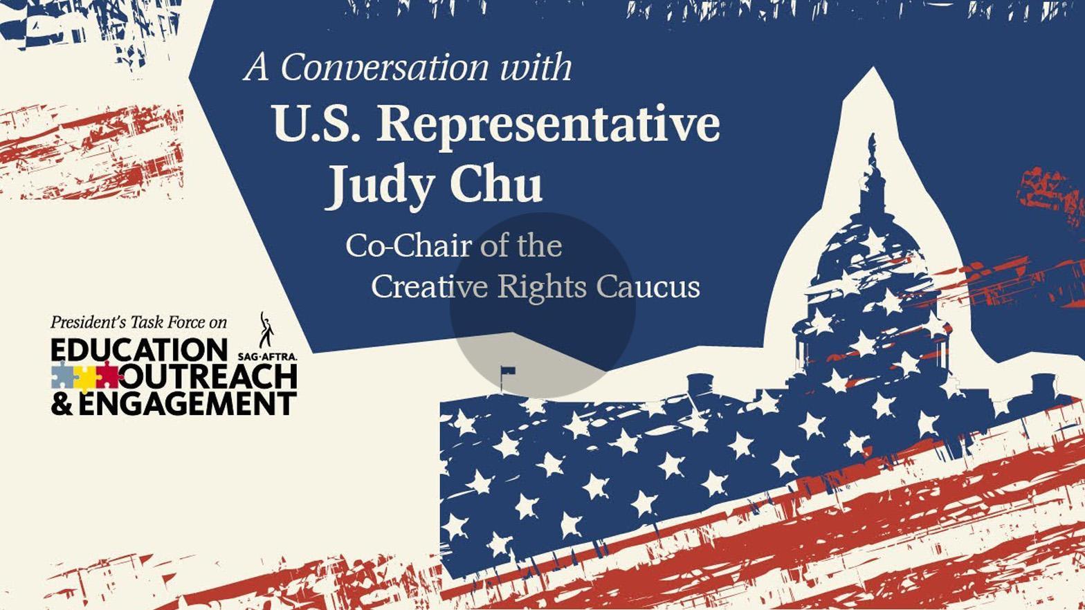 """Silueta roja, blanca y azul del capitolio estatal con """"Una conservación con la representante estadounidense Judy Chu, copresidenta del Comité de Derechos Creativos"""" en los dos tercios superiores"""