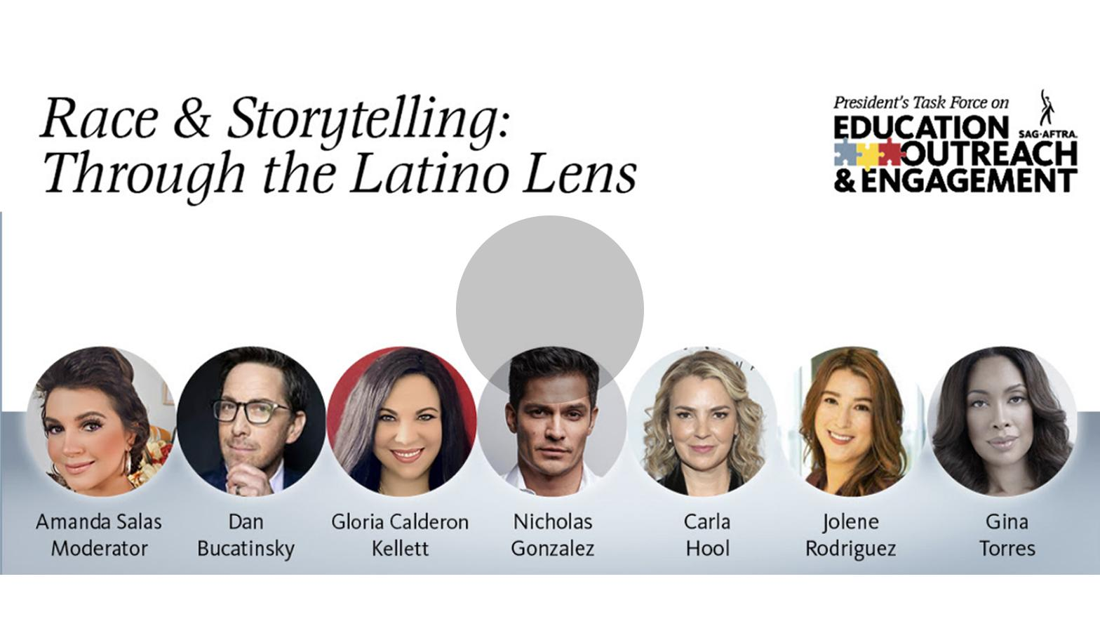 """Race & Storytelling: Through the Latino Lens"" en la parte superior en negro. LR disparos a la cabeza de Salas, Bucatinsky, Calderon Kellet, Gonzalez, Hool, Rodriguez, Torres"
