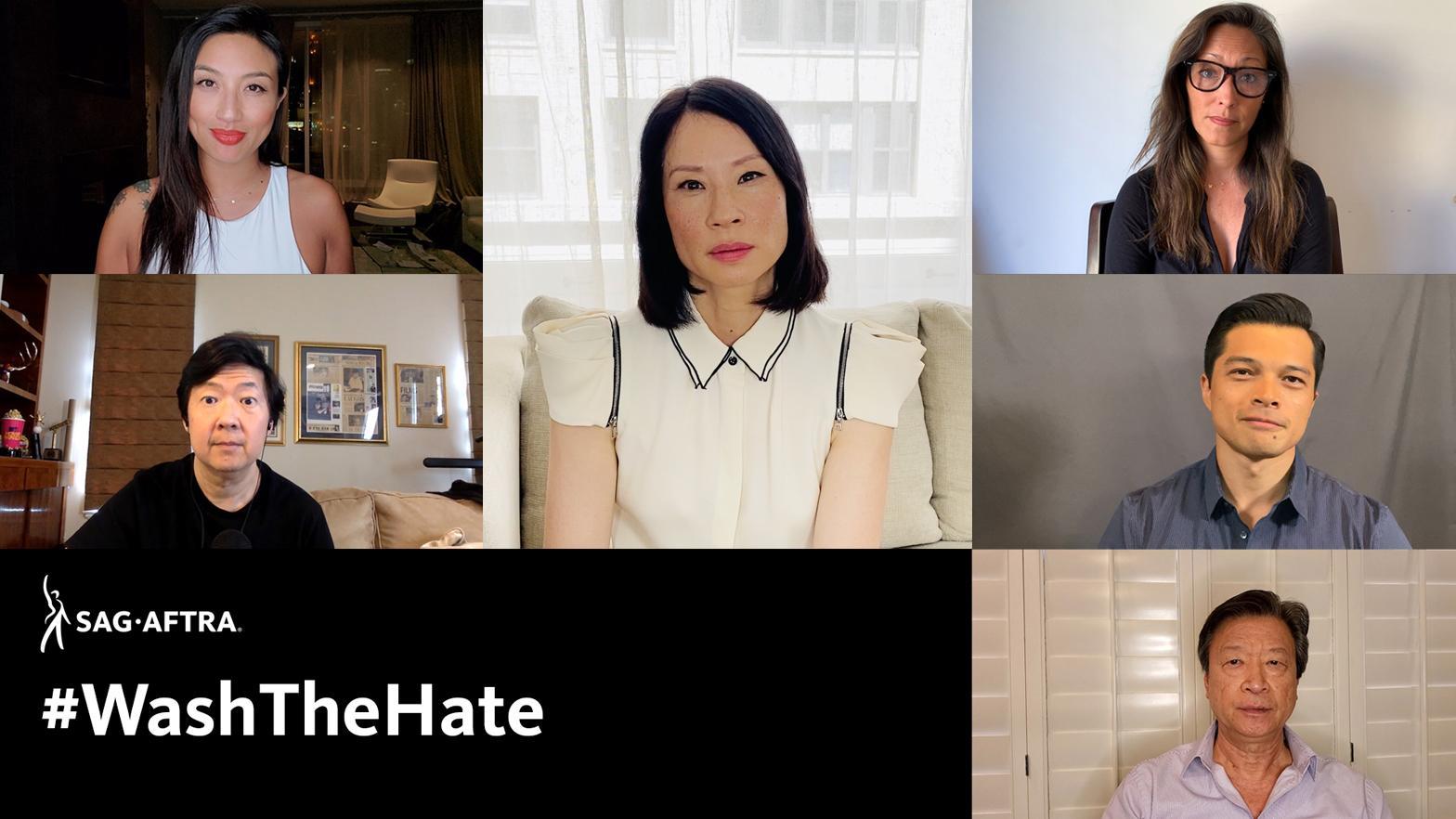 Fotogramas del video, Jeannie Mai, Ken Jeong, Lucy Liu, Christina Chang, Vincent Rodriguez III, Tzi Ma con #WashTheHate
