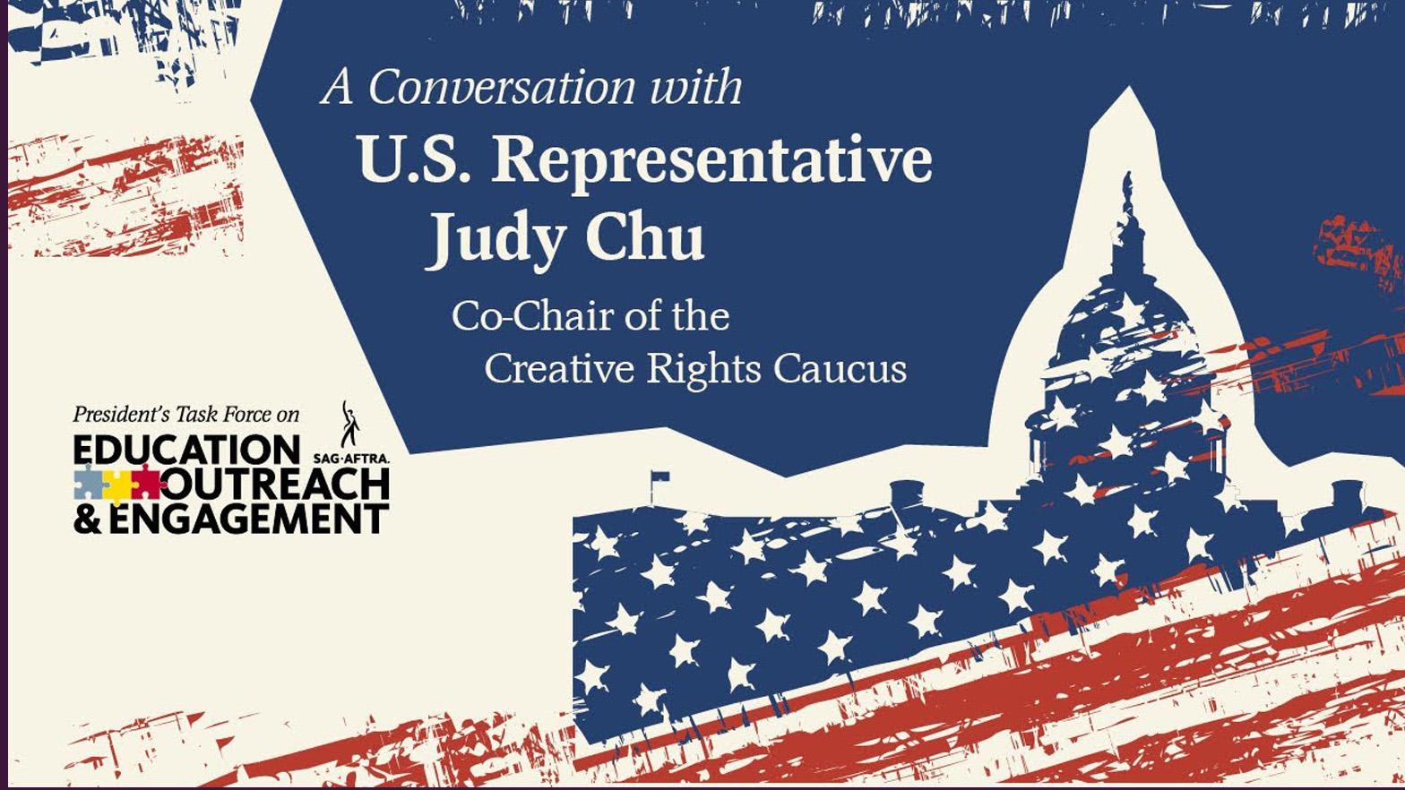 """Silueta roja, blanca y azul del capitolio estatal con """"Una conservación con la representante de Estados Unidos Judy Chu, copresidenta del Comité de Derechos Creativos"""" en los dos tercios superiores"""